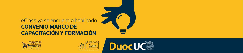 ¡eClass ya se encuentra habilitado! - Convenio Marco de capacitación y formación - Diplomados certificados por DUOC UC - Proveedor Chile Compra Express