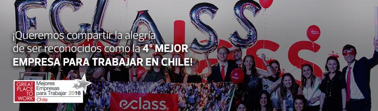 Queremos compartir la alegría de ser reconocidos como la 4° mejore empresa para trabajar en Chile